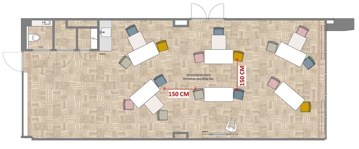 Plattegrond opstelling 1,5 meter sessies Academie voor Arbeidsmarktcommunicatie
